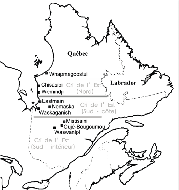 map of east cree dialect
