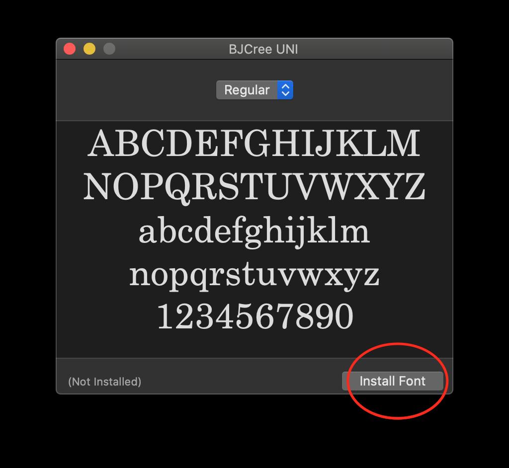 screenshot of font install on windows